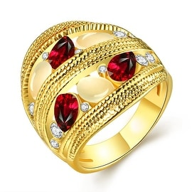 Gold Plated Trio Twisted Grape Vine Line Petite Ruby Ring
