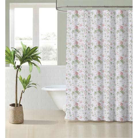 Laura Ashley Breezy Floral Cotton Pink Shower Curtain