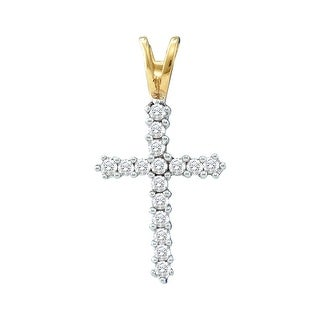 Cross Pendant 10K Yellow-gold With Diamonds 0.25 Ctw By MidwestJewellery - White