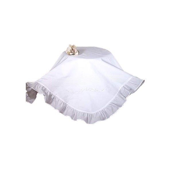 Little Things Mean A Lot White Hand Embroidered Ruffle Christening Blanket - One size