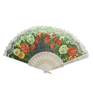 Unique Bargains White Flower Lace Rimmed Folding Hand Fan for Dancing