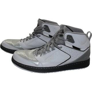 Joe Johnson Shoes Brooklyn Nets 20132014 Game Used 7 White Black and Metalic Silver Jordan Sixty C