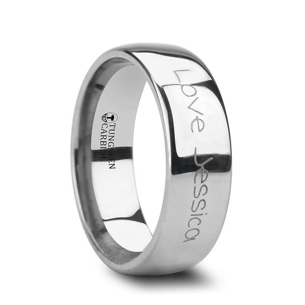 THORSTEN - Handwritten Engraved Domed Tungsten Ring Polished - 12mm