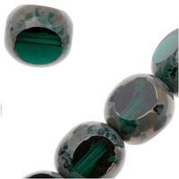 Czech Glass Triangular Table Cut Window Beads 8mm 'Emerald' (12)