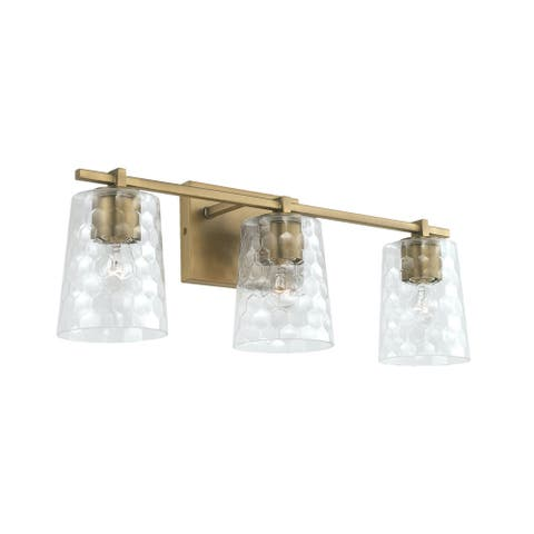 3-light 24-inch Bath/ Vanity Fixture w/ Clear Honeycomb Glass
