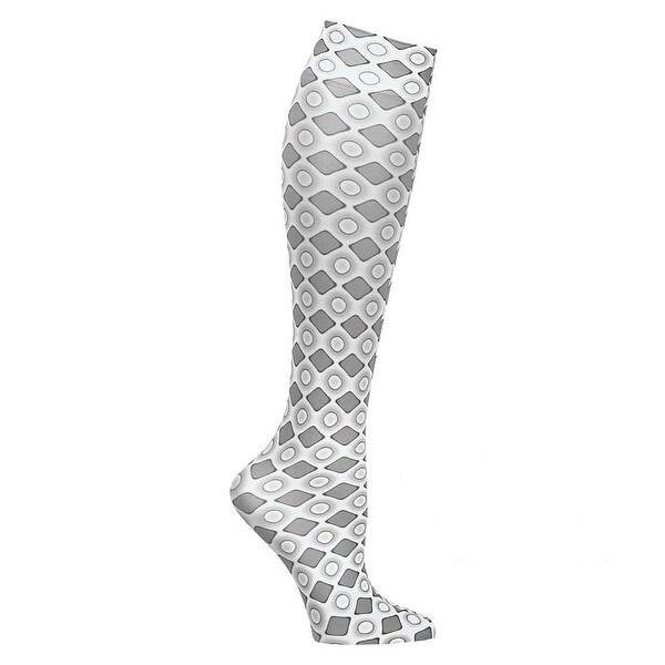 Celeste Stein Moderate Compression Knee High Stockings Wide Calf - Grey Diamonds - Medium