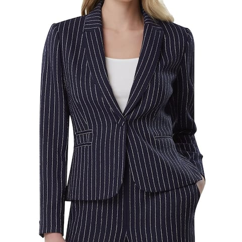 Tahari by ASL Women's Blazer Navy Blue Size 16 Striped 1 Button