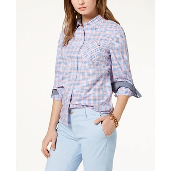 979174a3 Shop Tommy Hilfiger Blue Womens Size Medium M Plaid Button Down Shirt -  Free Shipping On Orders Over $45 - Overstock - 28361623