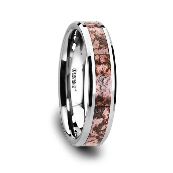 THORSTEN - ARCHEAN Pink Dinosaur Bone Inlaid Tungsten Carbide Beveled Edged Ring - 4mm