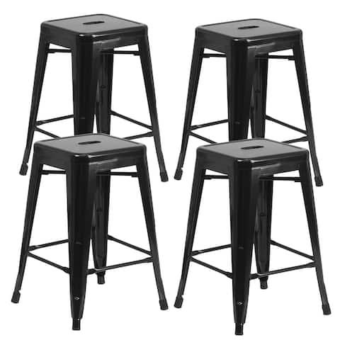 Brage Living Millard Stackable Industrial Metal Counter Stool - (Set of 4) - Black