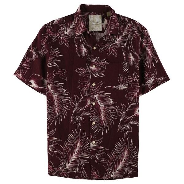 Tasso Elba Mens Leaf Silk Linen Button Up Shirt, Red, Small. Opens flyout.
