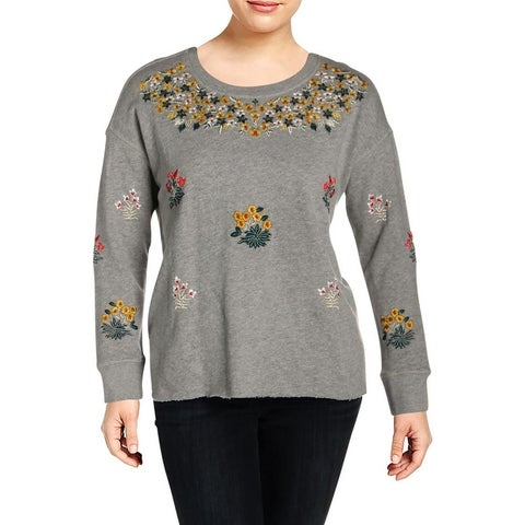 Lucky Brand Womens Plus Sweatshirt, Crew Embroidered French Terry
