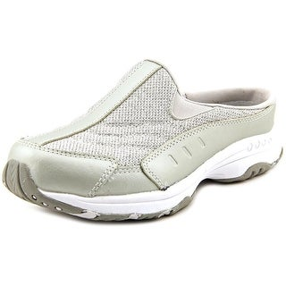 Easy Spirit Traveltime Women W Round Toe Leather Silver Mules