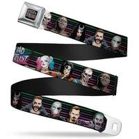 Suicide Squad Logo Full Color Black Gray Suicide Squad 9 Character Lineup Seatbelt Belt