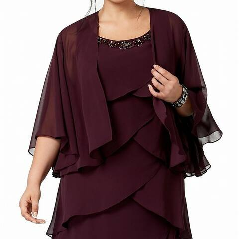 SLNY Womens Jacket Purple Size 14W Plus Sheer Open Front Draped Bolero