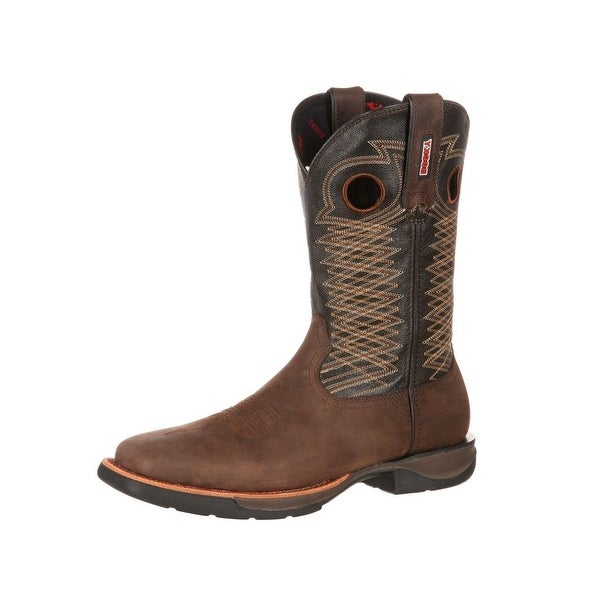 Rocky Western Boots Mens Ride LT Square Toe Leather Brown