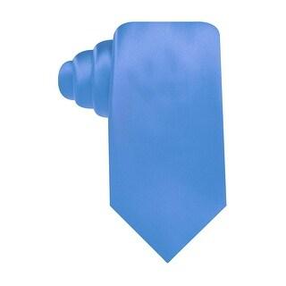 Geoffrey Beene Hand Made Sateen Solid Fashion Classic Tie Light Blue Necktie