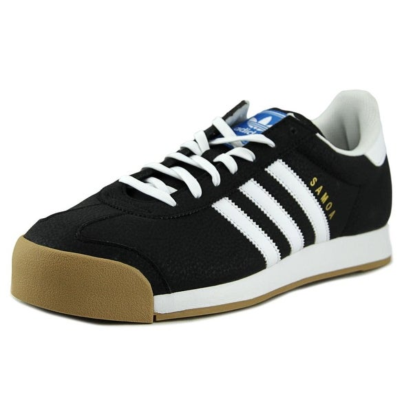 Adidas Samoa Men  Round Toe Leather Black Sneakers