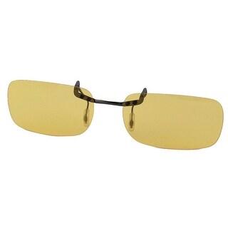 Women Men Rimless Lens Clip On Polarized Sunglasses Glasses Black Clear Yellow