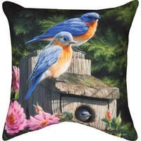 """18"""" Birdhouse Blues Decorative Outdoor Patio Throw Pillow - Green"""