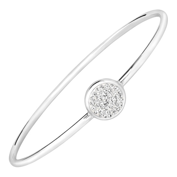 Crystaluxe Disc Bangle Bracelet with Swarovski Crystals in Sterling Silver-Plated Bronze - White