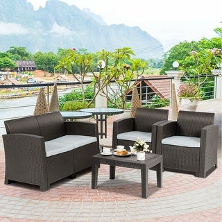 Superieur Shop Gymax 4 Piece Patio Furniture Set Molded Rattan Sectional Sofa Set  Coffee Table Coffee   On Sale   Free Shipping Today   Overstock   28108043