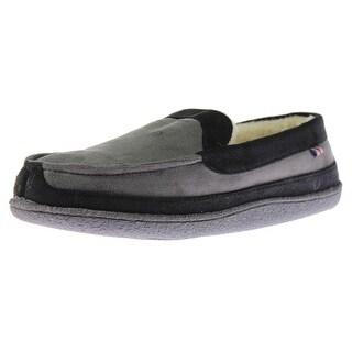 Izod Mens Microsuede Memory Foam Loafer Slippers - L