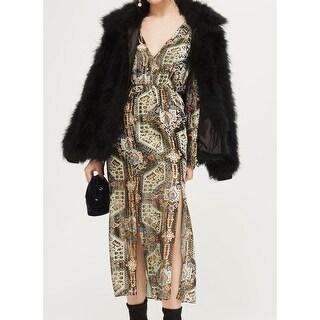 TopShop Women's V-Neck Shimmer Slit Sheath Dress