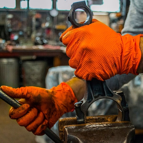 GLOVEWORKS Orange Nitrile Industrial Latex Free Disposable Gloves Case of 1000