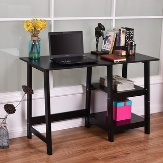 Costway Black Modern Trestle Desk Laptop Writing Working Table Shelves Computer Desk