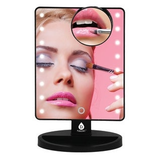 Pursonic TM16 LED Touch Dimmable Vanity Makeup/Shaving Mirror with Detachable 5X Mirror, Black - Black & Glass