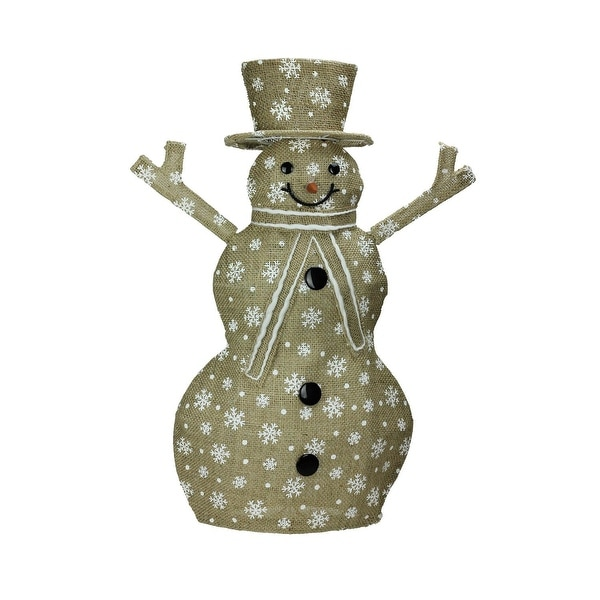"24"" Lighted Natural Snowflake Burlap Standing Snowman Christmas Outdoor Decoration"