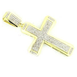 0.6cttw Diamond Cross Pendant 10K Gold 49mm Tall( 0.6cttw) By MidwestJewellery - White