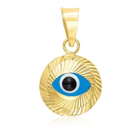 Mcs Jewelry Inc 14 KARAT YELLOW GOLD EVIL EYE CHARM PENDANT (15mm)