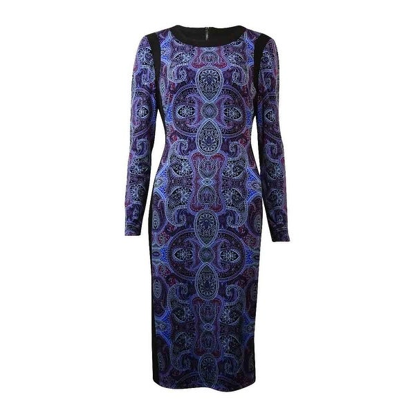 INC International Concepts Women's Printed Jersey Dress - purple paisley