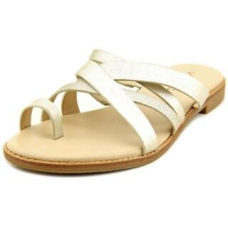 Via Spiga Reese 2 Women Open Toe Leather Gold Slides Sandal
