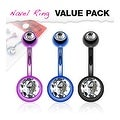 3 Pcs Pack of Purple, Blue, and Black Color Titanium Anodized Double Gem Ball Navel Belly Button Ring - Thumbnail 0