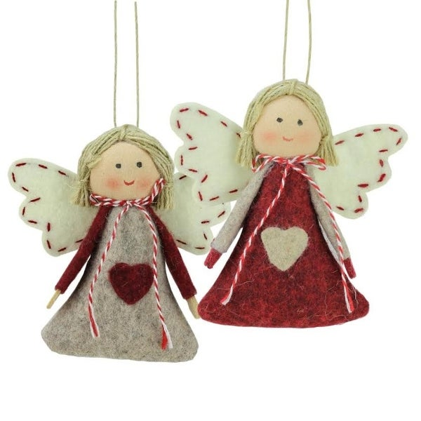 set of 2 gray and red girl angel christmas ornaments 35