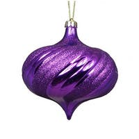 4 ct. Shiny Purple Swirl Shatterproof Onion Christmas Ornaments -