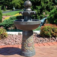 Sunnydaze 2-Tier Outdoor Water Fountain and LED Rope Light - Cobblestone Design