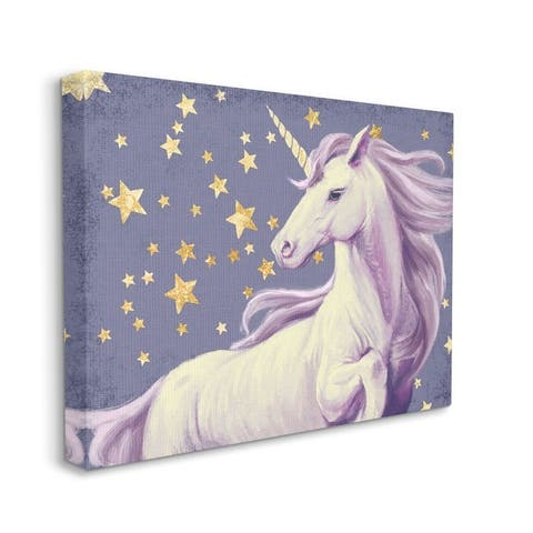 Stupell Industries Purple Unicorn in Starry Night Sky Space Fantasy Canvas Wall Art - Multi-Color