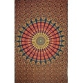 Handmade Sanganer Mandala Peacock 100% Cotton Tapestry Tablecloth Bedspread in Red Blue & Green colors in Twin & Full sizes - Thumbnail 13