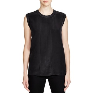DKNY Womens Casual Top Silk Pleated