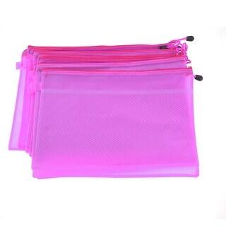 10 Pcs Light Purple Zip up Two Compartments PVC A4 File Folder Bags Container