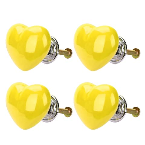 4pcs Ceramic Knobs Drawer Heart Shaped Pull Handle Furniture Door Cabinet Cupboard Wardrobe Dresser Replacement Yellow