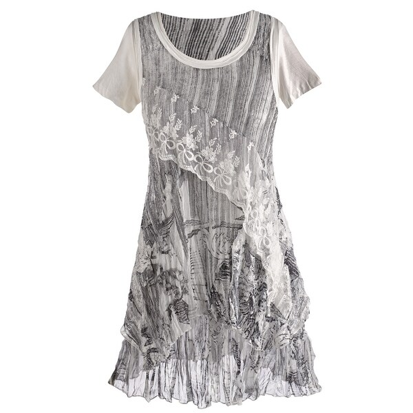 95e648d724fca4 Shop Women s Tunic Top - Adeline Lacey Ruffle Shirt - Free Shipping Today -  Overstock.com - 15813087