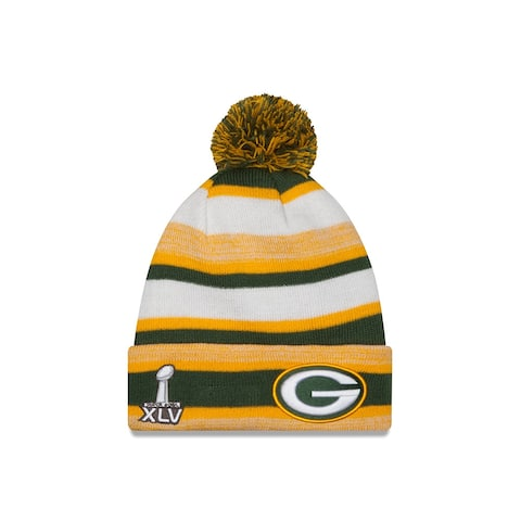 Green Bay Packers New Era NFL Super Bowl XLV Logo Striped Sport Knit Hat