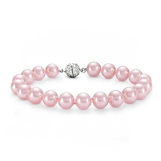Bling Jewelry Crystal 10mm Pink Imitation Pearl Wedding Bracelet Rhodium Plated