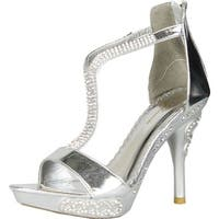 Glamorous Womens Diamond-8 Open Toe Rhinestone Studded Ankle T Strap High Heel Platform Sandal - Silver - 7 b(m) us