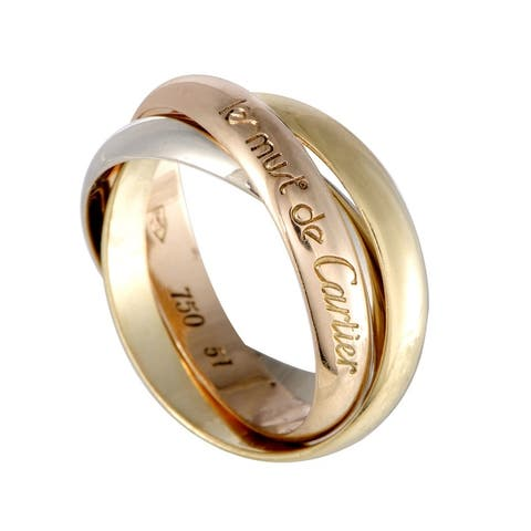 Cartier Trinity Les Must de Cartier Yellow White and Rose Gold Rolling Band Ring Size 5